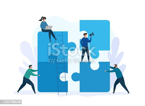 Vector illustration for teamwork concept and business solution. Group people working together with giant puzzle elements. Business metaphor.