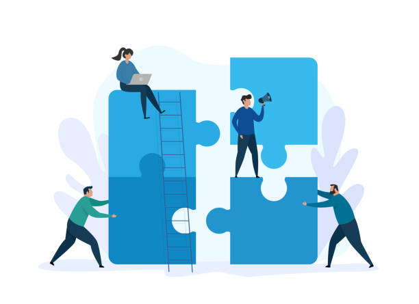 Teamwork concept and business solution. Group people working together with giant puzzle elements. vector art illustration
