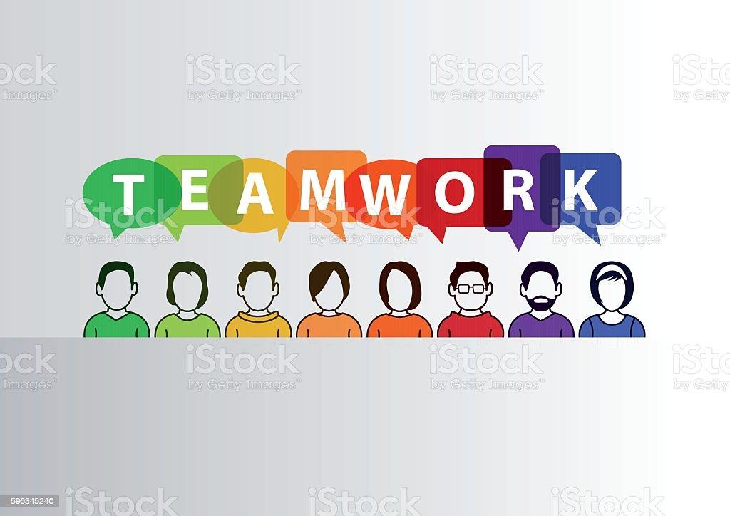 Teamwork concept as vector illustration of group of people Lizenzfreies teamwork concept as vector illustration of group of people stock vektor art und mehr bilder von berufliche beschäftigung