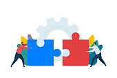 Teamwork concept design. People connecting puzzle elements. Business metaphor. Vector cartoon illustration isolated on white background.