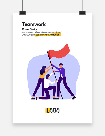 Teamwork Concept Flat Design for Posters, Covers and Banners. Modern Flat Design Vector Illustration.