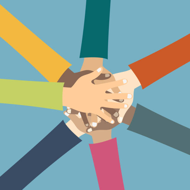 ilustrações de stock, clip art, desenhos animados e ícones de teamwork concept. friends with stack of hands showing unity and teamwork, top view. young people putting their hands together. flat vector illustration - team