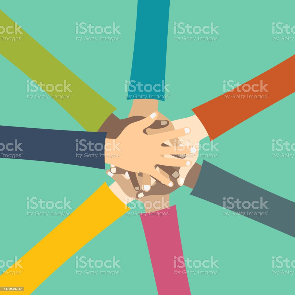 Teamwork concept. Friends with stack of hands showing unity and teamwork, top view. Young people putting their hands together. Flat vector illustration vector art illustration