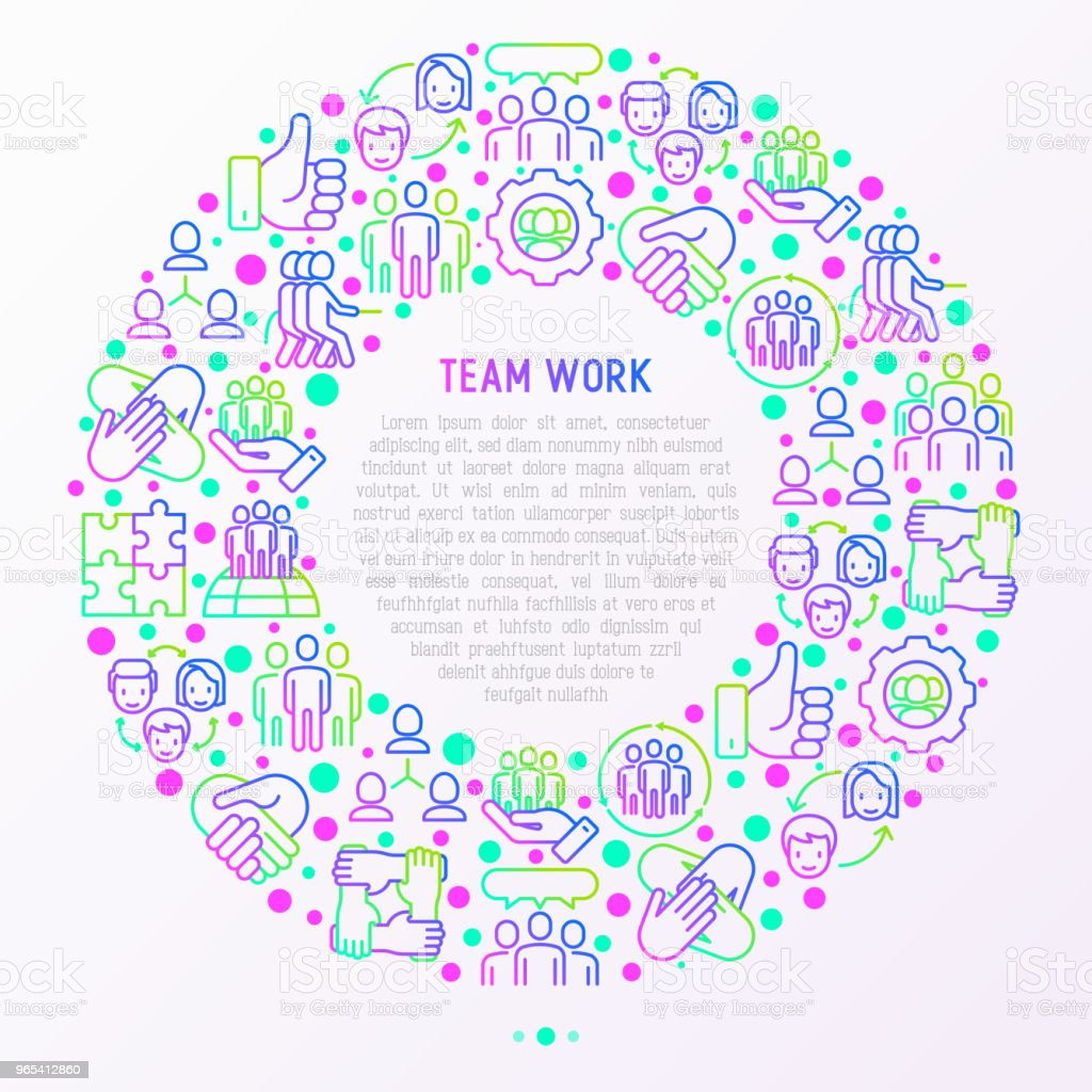 Teamwork concept in circle with thin line icons: group of people, mutual assistance, meeting, handshake, tug-of-war, cooperation, puzzle, team spirit, cooperation. Vector illustration for print media. royalty-free teamwork concept in circle with thin line icons group of people mutual assistance meeting handshake tugofwar cooperation puzzle team spirit cooperation vector illustration for print media stock vector art & more images of a helping hand