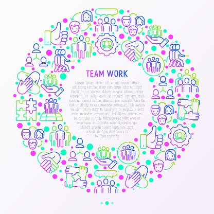 얇은 선 아이콘 원에서 팀워크 개념 사람들 상호 지원 회의 악수 줄다리기 협력 퍼즐 팀 정신 협력의 그룹 인쇄 매체에 대 한 벡터 일러스트입니다 개념에 대한 스톡 벡터 아트 및 기타 이미지