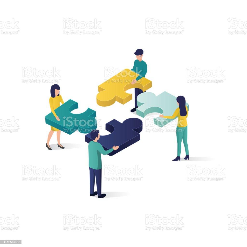 teamwork concept isometric illustration . cooperation partnership...