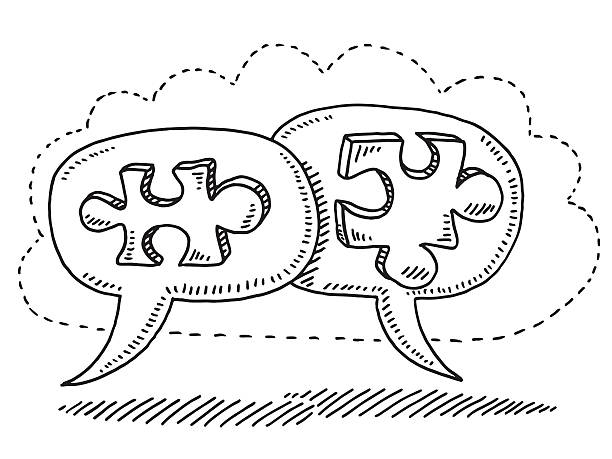 Teamwork Concept Jigsaw Pieces Drawing Hand-drawn vector drawing of a Teamwork Concept with two Jigsaw Pieces in Speech Bubbles, which fit together. The bubbles are surrounded by a dotted line cloud. Black-and-White sketch on a transparent background (.eps-file). Included files are EPS (v10) and Hi-Res JPG. game stock illustrations