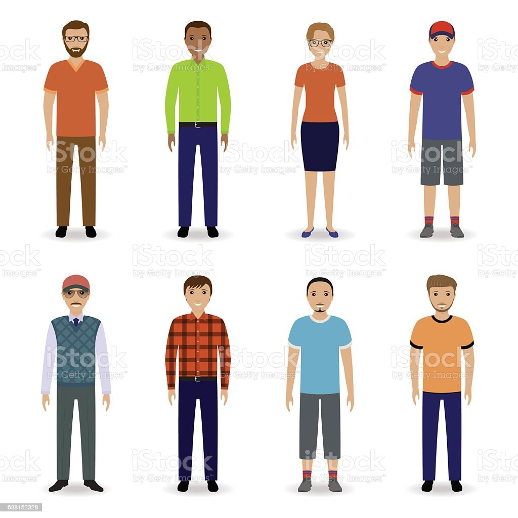 Teamwork concept. Office employee team. Set of eight office characters - ilustração de arte em vetor