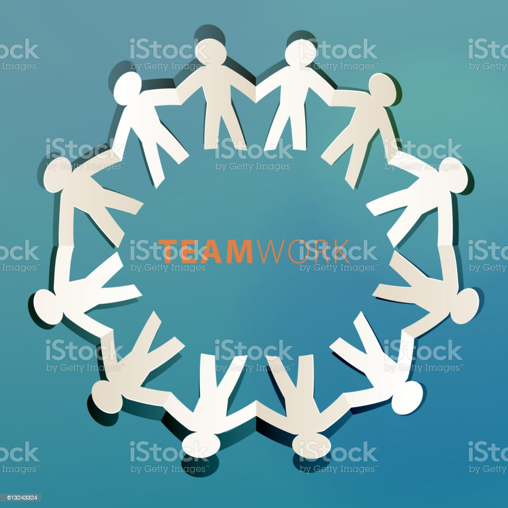 Teamwork Concept Paper Cut vector art illustration