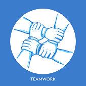 Teamwork concept. Stack of business hands. Cooperation Teamwork, Group, Partnership,Team buidding. Hand drawn line art cartoon vector illustration.