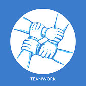 Teamwork concept. Stack of business hands. Cooperation Teamwork, Group, Partnership,Team buidding. Hand drawn line art cartoon vector illustration.