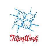 Team building concept. Stack of business hands. Cooperation Teamwork, Group, Partnership,Team buidding. Hand drawn line art cartoon vector illustration.