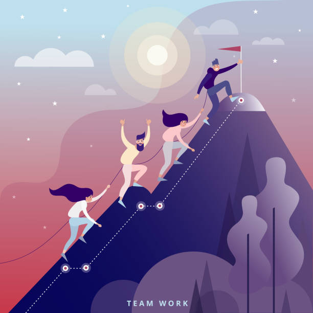 Teamwork Concept In one bundle climbers climb the mountains. Teamwork metaphor. Vector flat illustration. mountain climbing stock illustrations