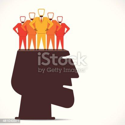 businessmen team on human head concept vector