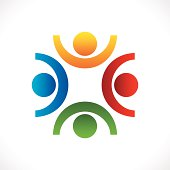 creative teamwork icon design vector