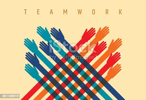 Teamwork concept, many People, Colorful Hand