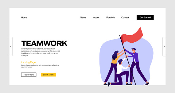 Teamwork Concept Vector Illustration for Landing Page Template, Website Banner, Advertisement and Marketing Material, Online Advertising, Business Presentation etc.