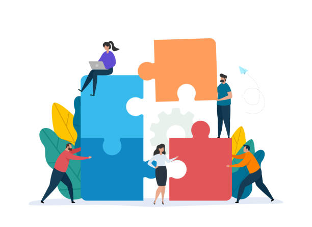 Teamwork concept with building puzzle. People working together with giant puzzle elements. Teamwork concept with building puzzle. People working together with giant puzzle elements. Symbol of partnership and collaboration. Flat vector illustration isolated on white background. collaboration stock illustrations
