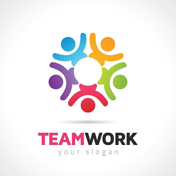 ilustraciones, imágenes clip art, dibujos animados e iconos de stock de vector de concepto de trabajo en equipo con símbolos personas - reunión evento social