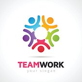 Teamwork Concept With Vector People Symbols