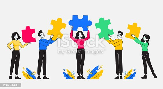 istock Teamwork, cooperation and partnership. Group of young and stylish people holding colored puzzle pieces on their hand. Business team and diversity concept. Vector illustration 1207244316