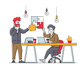 Teamwork Cooperation, Collective Work, Partnership Concept. Office Characters Work Together Set Up Colored Separated Puzzle Pieces. Businesspeople in Coworking Place. Linear People Vector Illustration