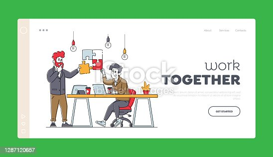 istock Teamwork Cooperation, Collective Work, Partnership Landing Page Template. Office Characters Work Together Set Up Puzzle 1287120657
