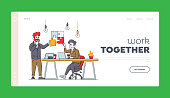 Teamwork Cooperation, Collective Work, Partnership Landing Page Template. Office Characters Work Together Set Up Separated Puzzle. Businesspeople in Coworking Place. Linear People Vector Illustration