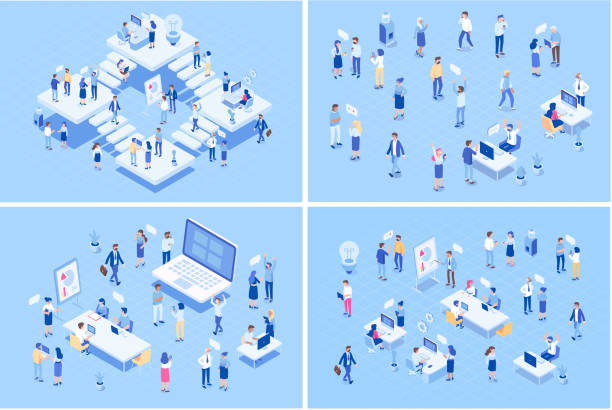 teamwork, cooperation. office people. isometric people vector set. isometric office workspace with people working together. co working. - office stock illustrations