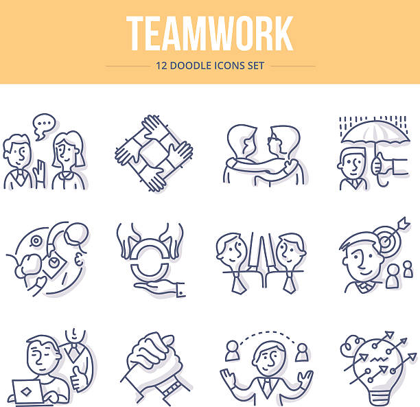 Teamwork Doodle Icons Doodle vector line icons of teamwork, partnership and social communication in business community drawings stock illustrations