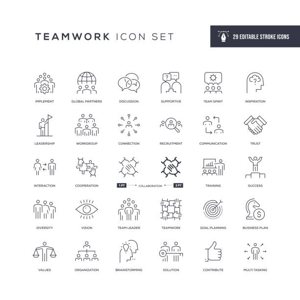 illustrazioni stock, clip art, cartoni animati e icone di tendenza di teamwork editable stroke line icons - azienda partner