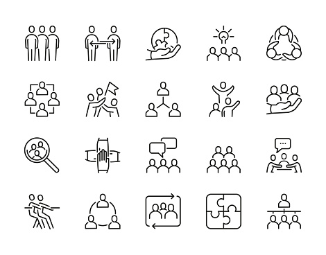 Teamwork Editable Stroke Line Icons. unique style of Adjustable and scalable icons such as Leadership, Success, Team Spirit, Support, Problem Solving and so on.