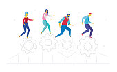 Teamwork - flat design style colorful illustration on white background. A composition with cute characters, office workers or businessmen running on linear gears. Business theme