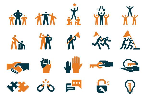 teamwork für bestes unternehmen. assistent in ihrem arbeitsleben. menschen, die ihre idee zu guter idee unterstützen. - confidence stock-grafiken, -clipart, -cartoons und -symbole