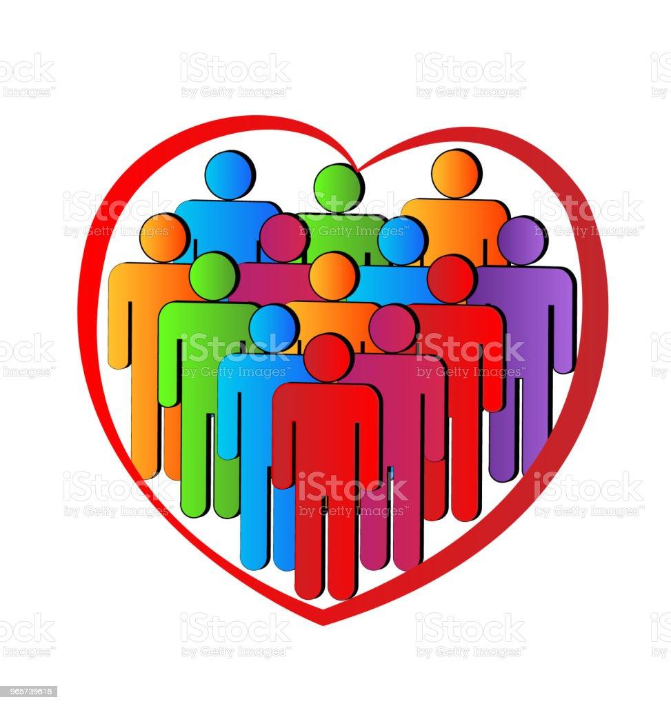 Teamwork vriendschap mensen business in een liefde hart pictogram identiteitskaart vector - Royalty-free Achtergrond - Thema vectorkunst