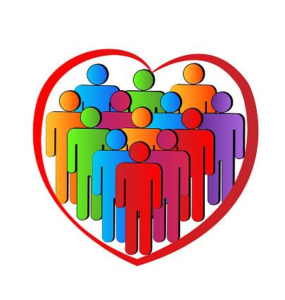 Teamwork Vriendschap Mensen Business In Een Liefde Hart Pictogram Identiteitskaart Vector Stockvectorkunst en meer beelden van Achtergrond - Thema