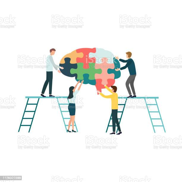 Teamwork group of people assembling a brain jigsaw puzzle concept for vector id1126022399?b=1&k=6&m=1126022399&s=612x612&h=ej3rp9lult 09ycqmdyvgyh7vop 7koip c3viksyn0=