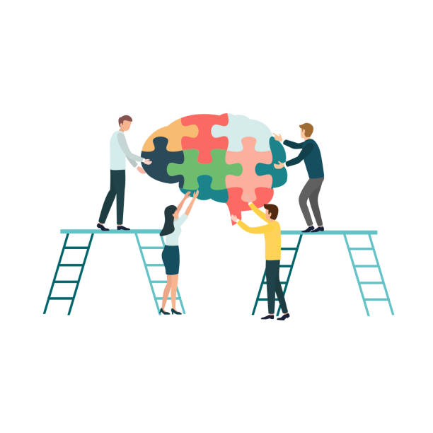 Teamwork group of people assembling a brain jigsaw puzzle. Concept for cognitive rehabilitation in Alzheimer disease and dementia patient. Concept for cognitive rehabilitation in Alzheimer disease and dementia patient. neurodegenerative disease stock illustrations