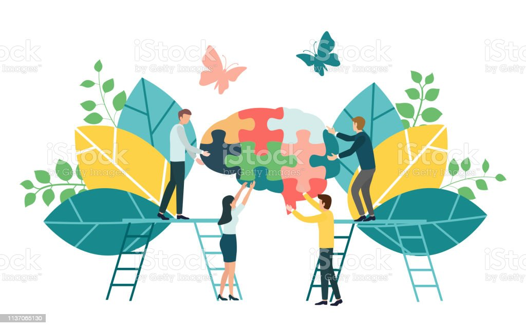 Teamwork group of people assembling a brain jigsaw puzzle. Concept for cognitive rehabilitation in Alzheimer disease and dementia patient. Concept for cognitive rehabilitation in Alzheimer disease and dementia patient. Adult stock vector