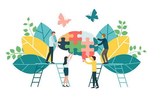 Teamwork Group Of People Assembling A Brain Jigsaw Puzzle Concept For Cognitive Rehabilitation In Alzheimer Disease And Dementia Patient Stock Illustration - Download Image Now