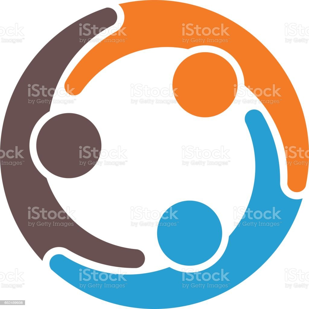 Teamwork Group of Three Partners Illustration
