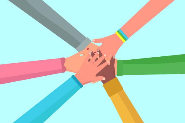 illustrazioni stock, clip art, cartoni animati e icone di tendenza di teamwork, hands people. - mano donna dita unite