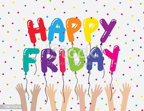 istock Teamwork Happy Friday Coworkers Celebration Card Meme 1296132916