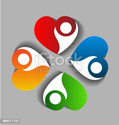 Teamwork heart love people charity concept vector icon