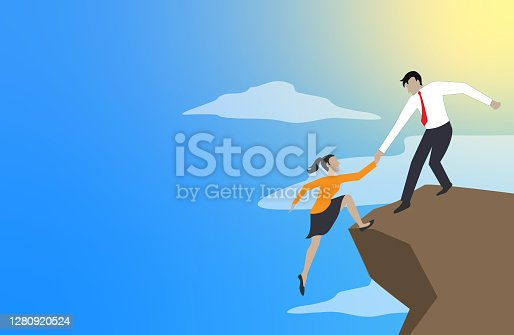 istock Teamwork help each other trust and assistance. 1280920524