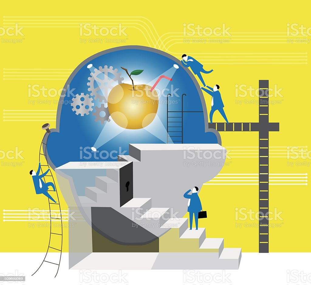 Teamwork: How to get the gold apple vector art illustration