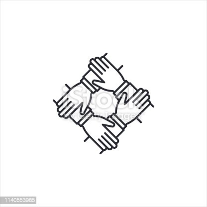 Teamwork icon, 4 hands together. Teamwork, partnership, cooperation, synergy, community, unity and equality concept. Icon for info graphics, websites, print media and interfaces. Vector illustration.