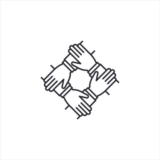 Teamwork icon, 4 hands together. Teamwork, partnership, cooperation, synergy, community, unity and equality concept. Icon for info graphics, websites, print media and interfaces. Vector illustration. Teamwork icon, 4 hands together. Teamwork, partnership, cooperation, synergy, community, unity and equality concept. Icon for info graphics, websites, print media and interfaces. Vector illustration. four people stock illustrations