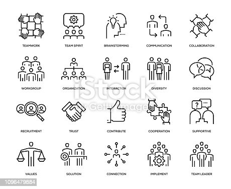 Teamwork Icon Set - Thin Line Series