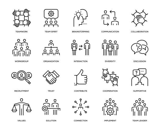 teamwork icon set - diversity stock illustrations